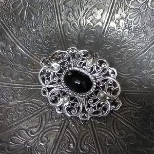 VINTAGE Silver Black Brooch